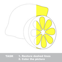 Lemon to be traced. Vector trace game.