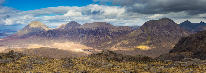 Wall Mural - Panoramic skyline of the Glamaig on a sunny spring day - Isle of Skye, Scotland, UK