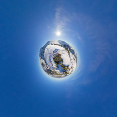 The trail in the mountains. Spherical Panorama 360, Little Planet