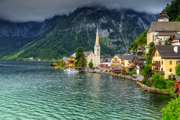 Beautiful historic village with alpine lake,Hallstatt,Salzkammergut region,Austria