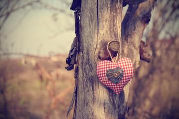 Vintage photo of hanging heart shape