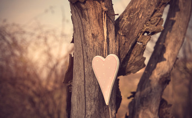 Vintage photo of a wooden heart