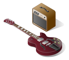 Isometric Electric Guitar With Vintage Combo Amplifier