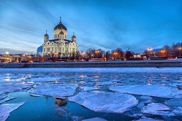 Floe on the Moscow River with Christ the Savior Cathedral