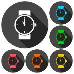 Watch icons set with long shadow