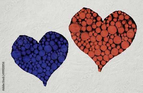 Holzherz Rot Und Blau Auf Stein Hintergrund Stock Photo And Royalty