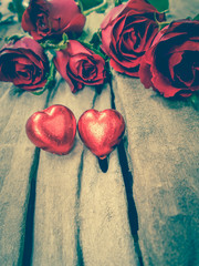 Red roses and chocolate hearts for Valentine's Day.