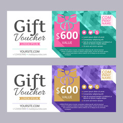 Gift voucher template with bright faceted background.