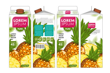 Template Packaging Design Pineapple Juice