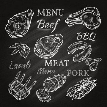 Retro Meat Menu Icons On Chalkboard