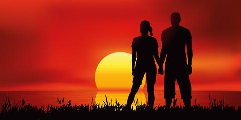 Paysage Coucher de soleil-Couple