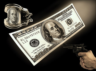 hundred-dollar bill, handcuffs and gun rivers. concept crime, co