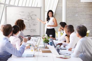 Hispanic Businesswoman Leading Meeting At Boardroom Table