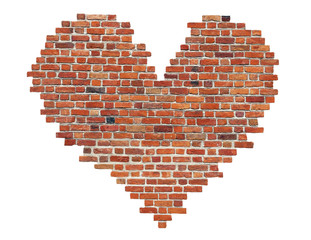 Heart of red old brick like a symbol of love