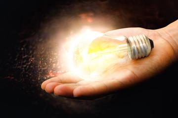 Bulb light on hand