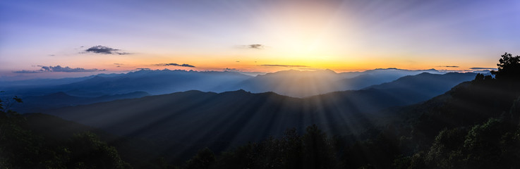 Printed roller blinds Salmon Panoramic view of skyline with mist and mountain at Doi Pha Hom Pok, the second highest mountain in Thailand, Chiang Mai, Thailand.