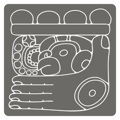 monochrome icon with glyphs of the Maya Night Lord for your design