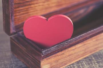 Valentine's red heart in a box. Love concept