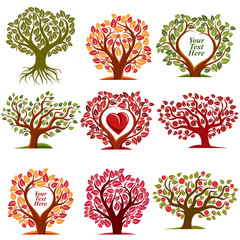 Vector art drawn trees with beautiful blossom and red heart.