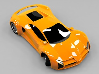 Orange sports car premium. Conceptual design. A prototype of fast transport of the future. Advanced engineering technology. The machine for motorsport. Ring race.
