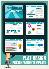 set of infographic presentation template flat design element .Ve