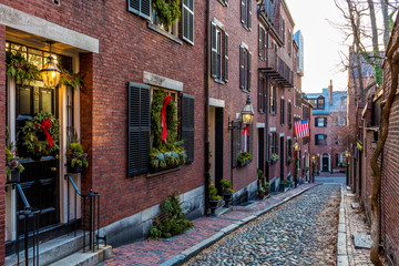 The historic streets of Boston in MA, USA.