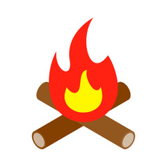 Bonfire isometric 3d icon