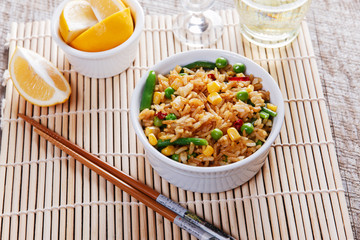 fried rice with vegetables beans peas corn