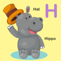 Illustration Isolated Animal Alphabet Letter H-Hat,Hippo