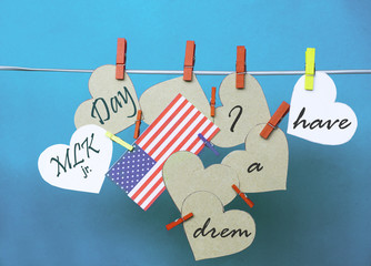 White  hearts - room for text,  USA ( America) flag hanging on c