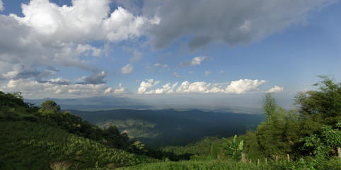 Panoramic view of tree, mountain and cloudy sky view of Chiangma