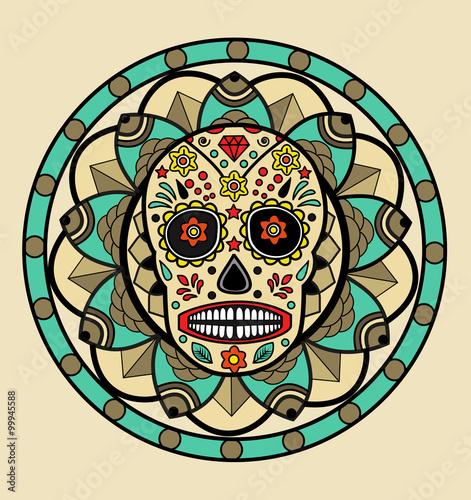 Mexican Skull On A Mandala Background Vector Teschio Messicano Su