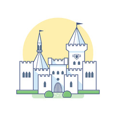 Medieval castle in linear flat style. Vector isolated illustration on white background.