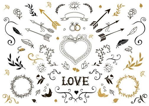 Hand drawn vintage decorative elements with lettering.  Floral design wedding set.