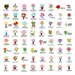 Bouquet Icons Set - Isolated On White Background - Vector Illustration, Graphic Design, Editable For Your Design
