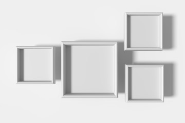 Four white frames on white background