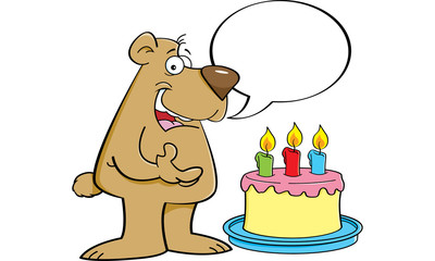 Cartoon illustration of a bear with a speech balloon and a birthday cake.