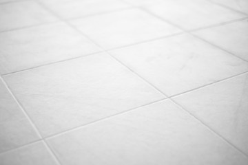 Clean white floor tiles