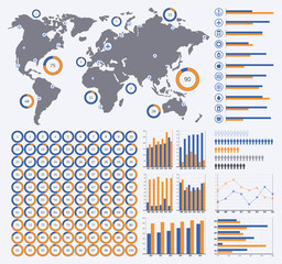 Vector infographics set, ring diagrams from 1 to 100 percent, more charts, world map, transport icons