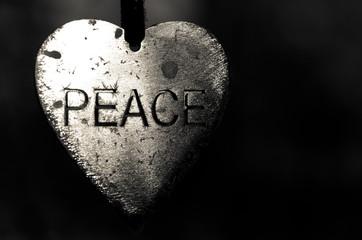 Metal Heart Shaped Peace Medallion
