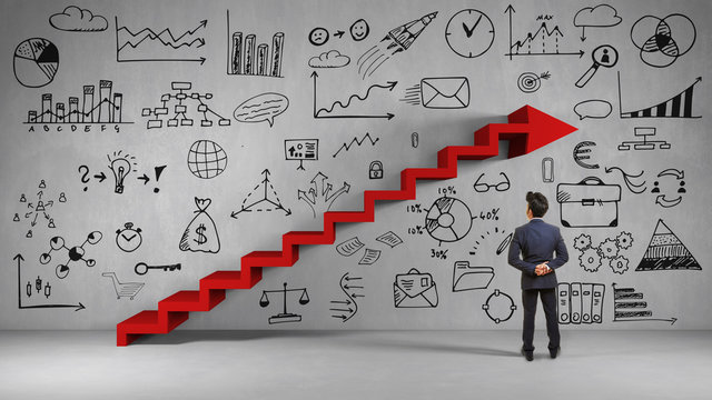 Business Mann bei Strategie Planung