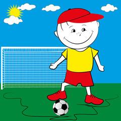 Soccer player boy style cartoon