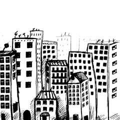 Hand drawn city view