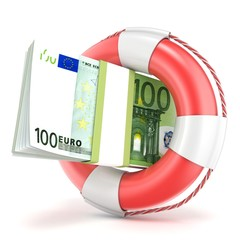 Life buoy with euros banknote. 3D render illustration isolated on a white background