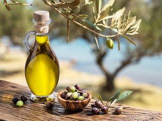 Ingelijste posters Olijfboom Olive oil and berries are on the wooden table under the olive tr