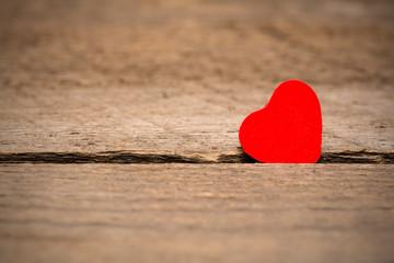 Valentines Day background, heart on wooden background