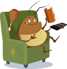 Funny cartoon cockroach sitting in a chair with a TV remote control, drink in a can and a drumstick, EPS 8 vector illustration