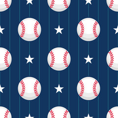 Seamless vector baseball pattern
