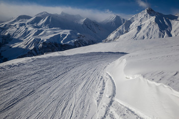 ski trail in mountains of Georgia