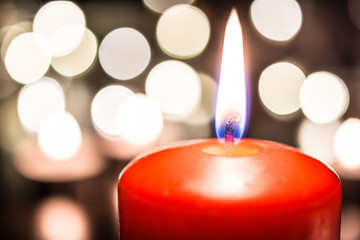 Romantic Valentine Candle Light For Dinner On Wooden Table With Bokeh At Night